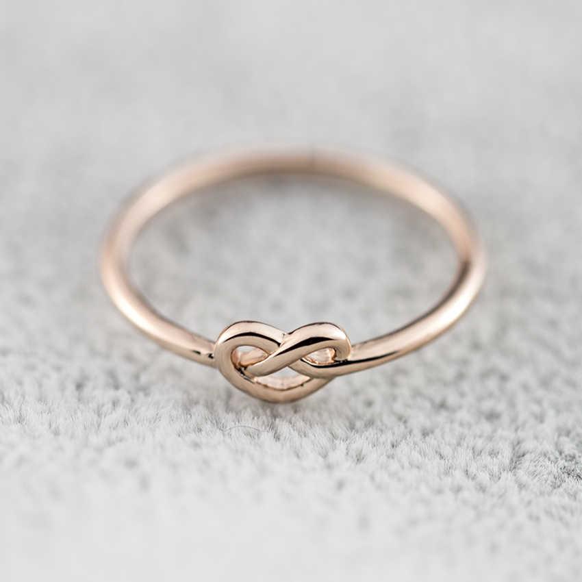Melhor presente simples junta amor coração nó anéis para mulheres meninas promessa anillos jóias rosa cor de prata ouro