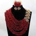 Fantástico Rojo Coral Perlas de la Boda Africana Conjunto Jewlery HX774 Dorado champagne Nupcial Pendientes Del Collar Del Nuevo Envío Libre