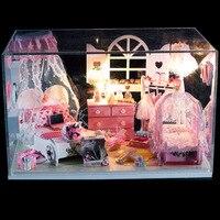 Legno Dollhouse Kit Miniature Sogno Principessa Camera DIY Casa di Bambola Mobili Copertura In Vetro Regalo Di Natale di Puzzle Fatto A Mano