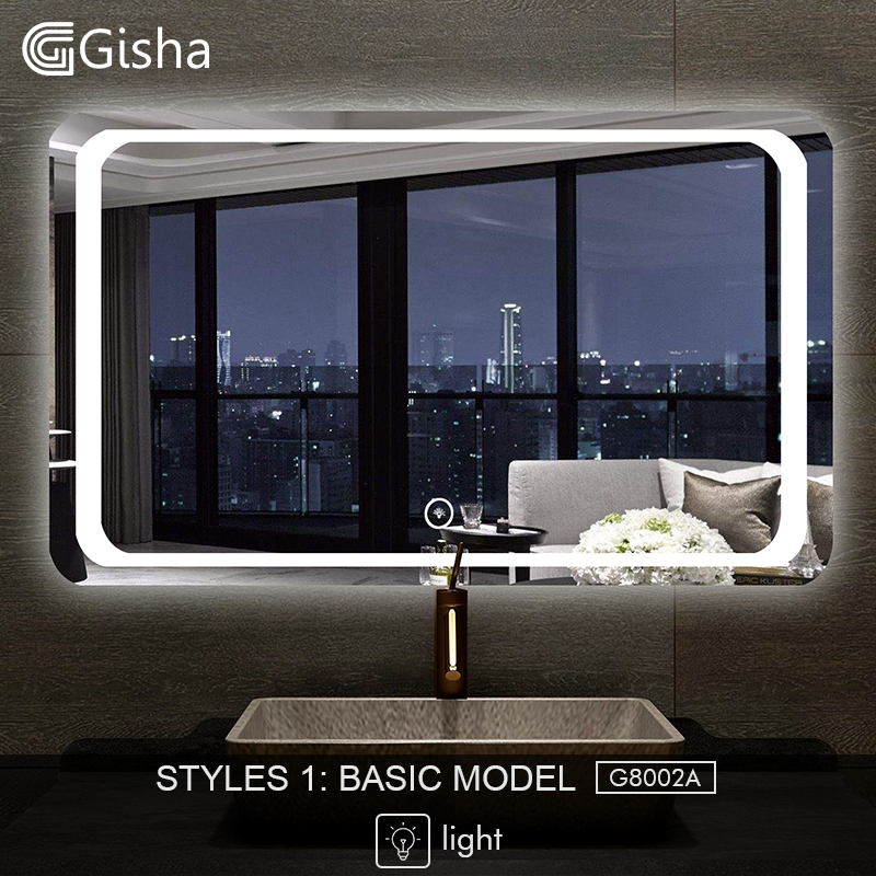 Bathroom Hardware Bath Mirrors Gisha Smart Mirror Led Bathroom Mirror Wall Bathroom Mirror Bathroom Toilet Anti-fog Mirror With Touch Screen Bluetooth G8015 Various Styles