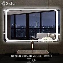 Gisha смарт-зеркало светодиодный ванная комната зеркало для ванной комнаты ванная туалет анти-противотуманное зеркало с Bluetooth Сенсорный экран G8002