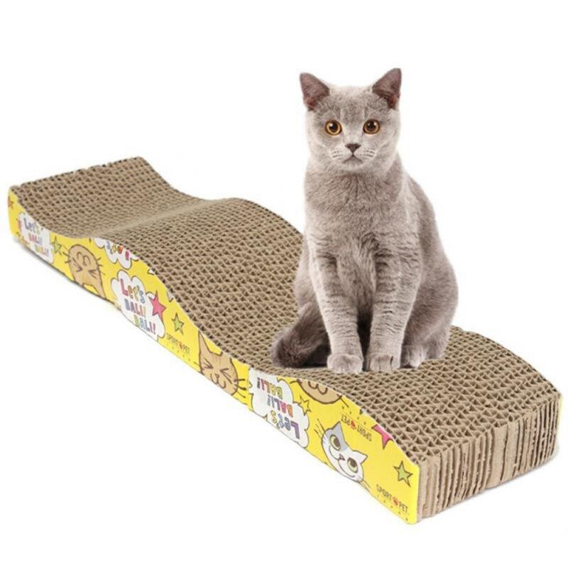 2017 New Funny Cat Kitten Paper Cardboard Corrugated Scratch Board Pad Scratcher Bed Mat Claws Care cat toys 12*5*44cm