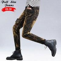Men's Vintage Design Ripped Patched Jeans Slim Harem Pants Patchwork Acid Washed Denim Pants Long Trousers