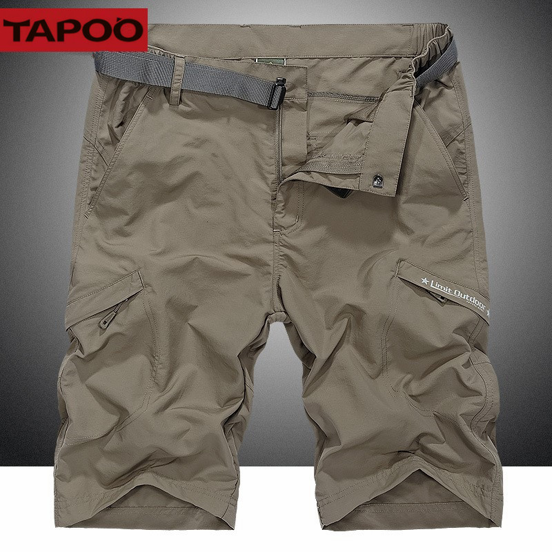 TAPOO Mens Casual Shorts Male Summer Shorts Mens Multi-Pocket Overalls Shorts Mens Quick-Drying Beach Shorts With 5XL