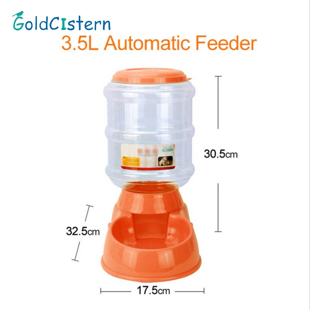 3.5L Large Automatic Pet Feeder Drinking Fountain For Cats Dogs Plastic Dog <font><b>Food</b></font> Bowl Pets <font><b>Water</b></font> Dispenser