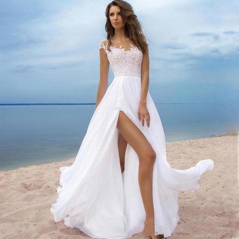 2019 Sexy Side Slit A Line Beach Boho Chiffon Wedding Dress Lace Top Cap Sleeve Long Gown Bride