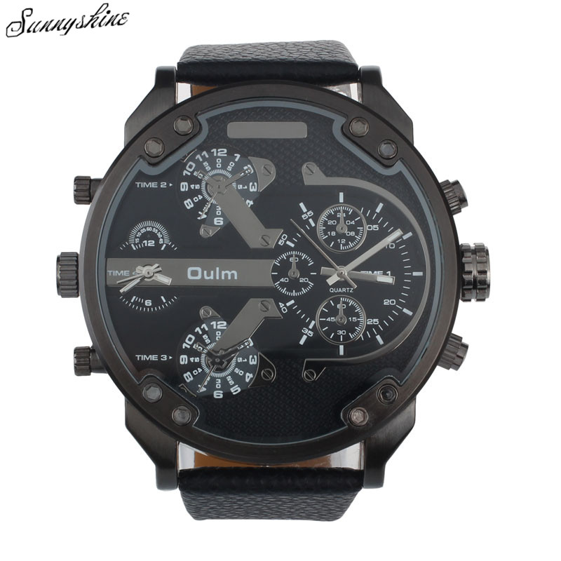 New Hot Men Watches Luxury Military Army Dual Time Quartz Clock Large Dial Wrist Watch Oulm wholesale xF3 splendid brand new boys girls students time clock electronic digital lcd wrist sport watch