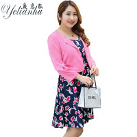 YELIANHU Jacket Dresses Two Pieces Plus Size Women Round Neck Floral Dresses Ladies Office Bodycon Female
