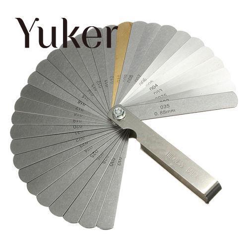 Yuker Guitar 32 Blade Feeler Gauge Set Laser 2481 Bass Metric Imperial Measure Tune Up Gap