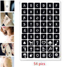 54 pics Henna Tattoo Stencils DIY Drawing Airbrush Mehndi Body Small Letters A-Z Numbers 0-9 Tatoo Stencil Jagua Templates pics