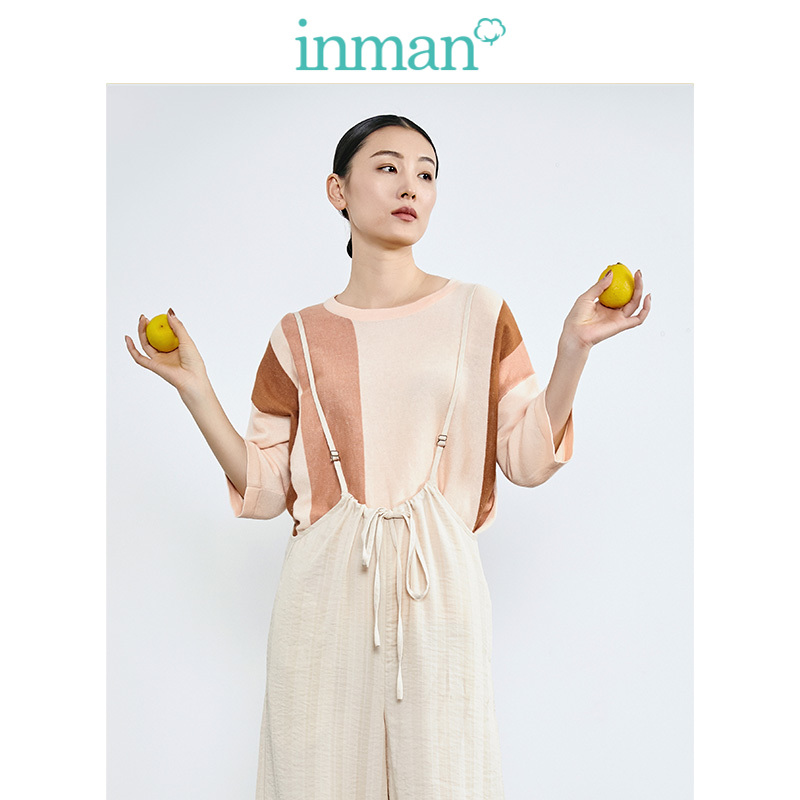 INMAN Spring Autumn Clear Linen Romie Cotton O-neck Personality Split Fashion All Matched Slim Women Pullover