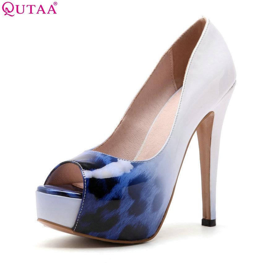 QUTAA 2018 Women Pumps Party Style Fashion Women Shoes Pu Leather Thin High Heel Peep Toe Platform Women Pumps Size 34-43 цена