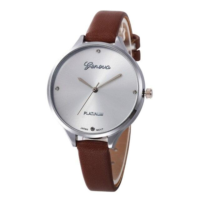 Women Casual Checkers Faux Leather Quartz Analog Wrist Watch Luxury pulseira rel