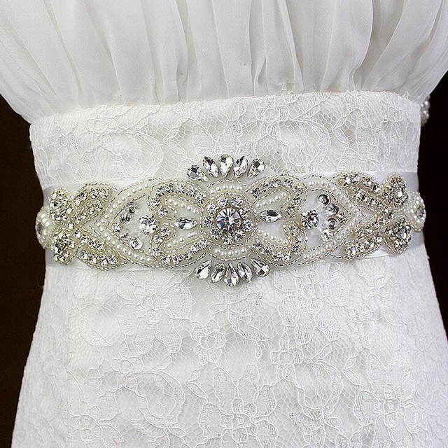 ZXW54 Exquisite Artificial Bridal Belts Rhinestone Beading Crystals Bridal Gown Sash Formal Wedding Evening Dress Belts