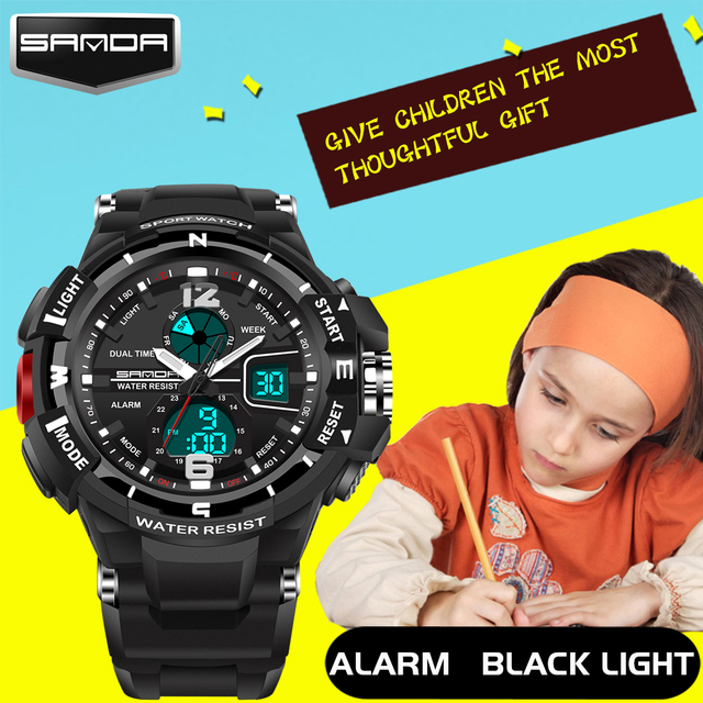 Fashion SANDA Brand Children Sports Watches LED Digital Quartz Military Watch Boy Girl Student Multifunctional Wristwatches
