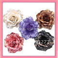 24pcs/lot 5 colors for your choose 4'' rose glitter fabric flower ponytail and brooch pin