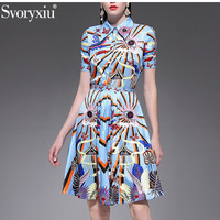 Svoryxiu 2019 New Runway Summer Women's Skirt Suit Beading Short Sleeve Blouse + Skirts Abstract Print Fashion Two Piece Set