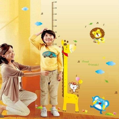 1 set 140*180cm Large Cartoon Giraffe Kids Growth Chart Height <font><b>Children</b></font> Nursery Wall <font><b>Sticker</b></font> Decoration