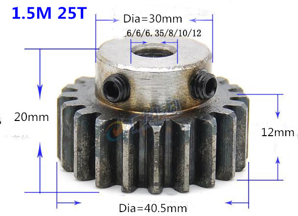 Quench Spur Gear pinion 1.5M 25T 25Teeth Mod 1.5 Width 12mm Bore 6-15mm Right Teeth major gear cnc gear rack transmission RCQuench Spur Gear pinion 1.5M 25T 25Teeth Mod 1.5 Width 12mm Bore 6-15mm Right Teeth major gear cnc gear rack transmission RC