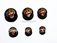 free shipping jewelry lot ear plugs and tunnels internally thread tiger logo picture mix size lots fashion body jewelrys