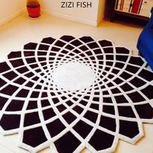 Черный круглый ковер alfombras современные ковры ручной работы для гостиной спальни модные креативные журнальный столик диван tapete