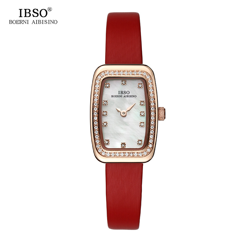 IBSO New Rectangular Design Quartz Watch Women Fashion Shell Dial Women Watches 2018 Crystal Diamond Ladies Watch Montre Femme amica luxury crystal diamond blue shell dial womens quartz watch ladies watch