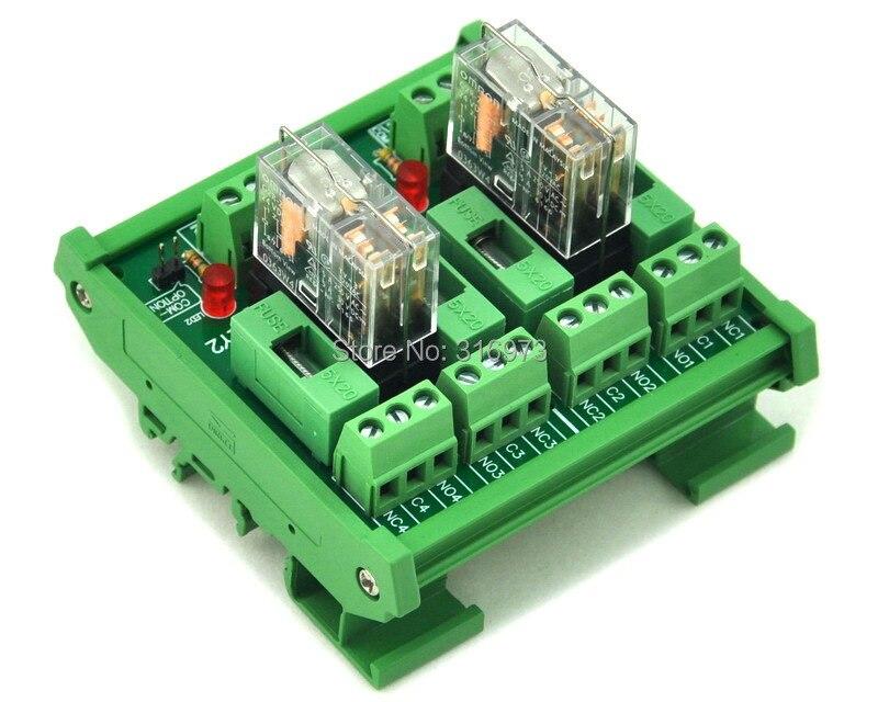 Electronics-Salon Montage sur rail DIN 4 Module dinterface de relais de signaux DPDT version DC5V.