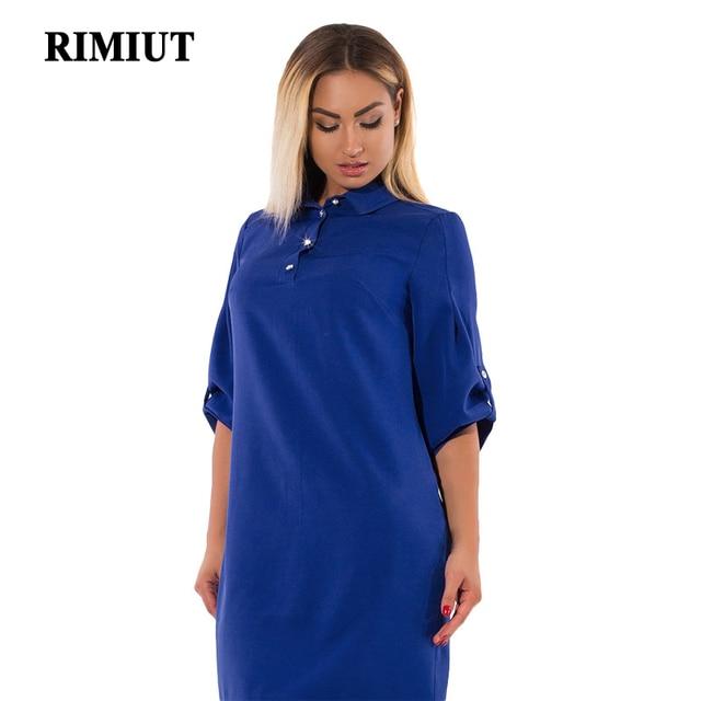 RIMIUT 2018 New 6XL Big Plus Size Casual Women Office Lady Dress Knee Length  Tun-down Collar Loose Fat MM Elegant Female Dresses 28a8fe7b3645