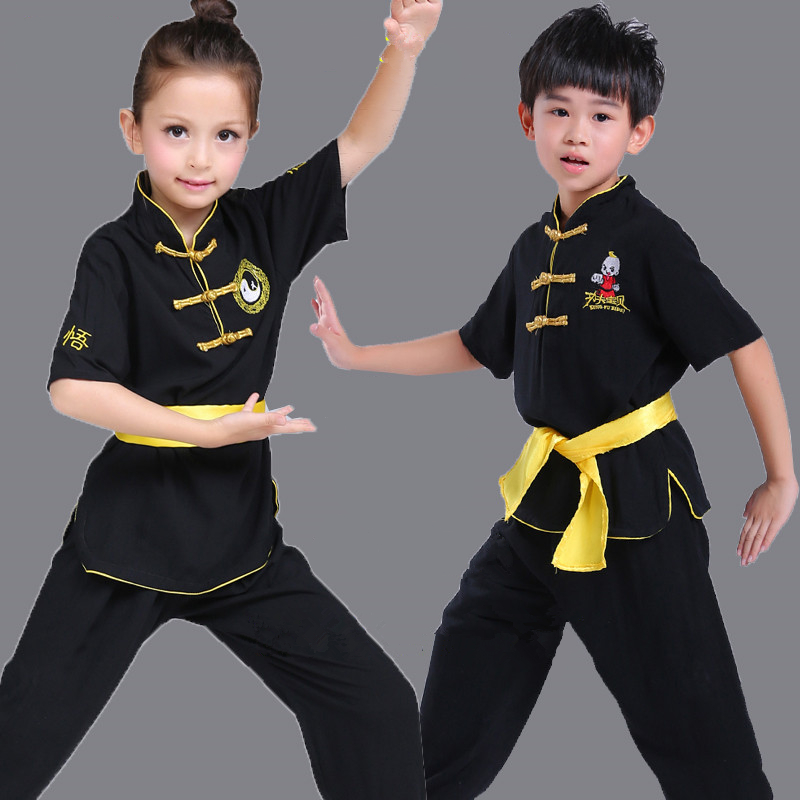 Top Quality Kids Adults Chinese Style Short Sleeve Cotton Martial Art Suits Taichi Performance Black Uniforms For Boys Girls