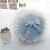 New Princess coral velvet bowknot round cushion Cushion with filling girl lace pillow sofa bed room Dec wholesale FG170