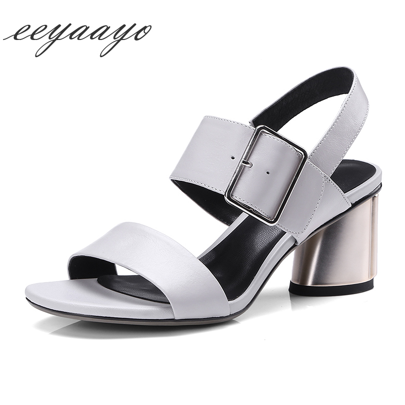 Genuine leather 2018 summer sandals cow leather round heel buckle strap pigskin insole casual classic style black shoes women