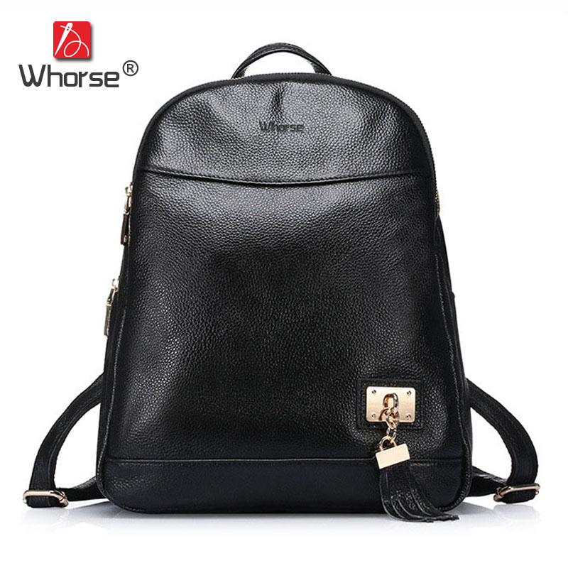 [WHORSE] Brand Small Tassel Women Backpack Genuine Leather School Backpacks For Teenage Girls Cowhide Shoulder Bag Large W07160 jmd backpacks for teenage girls women leather with headphone jack backpack school bag casual large capacity vintage laptop bag