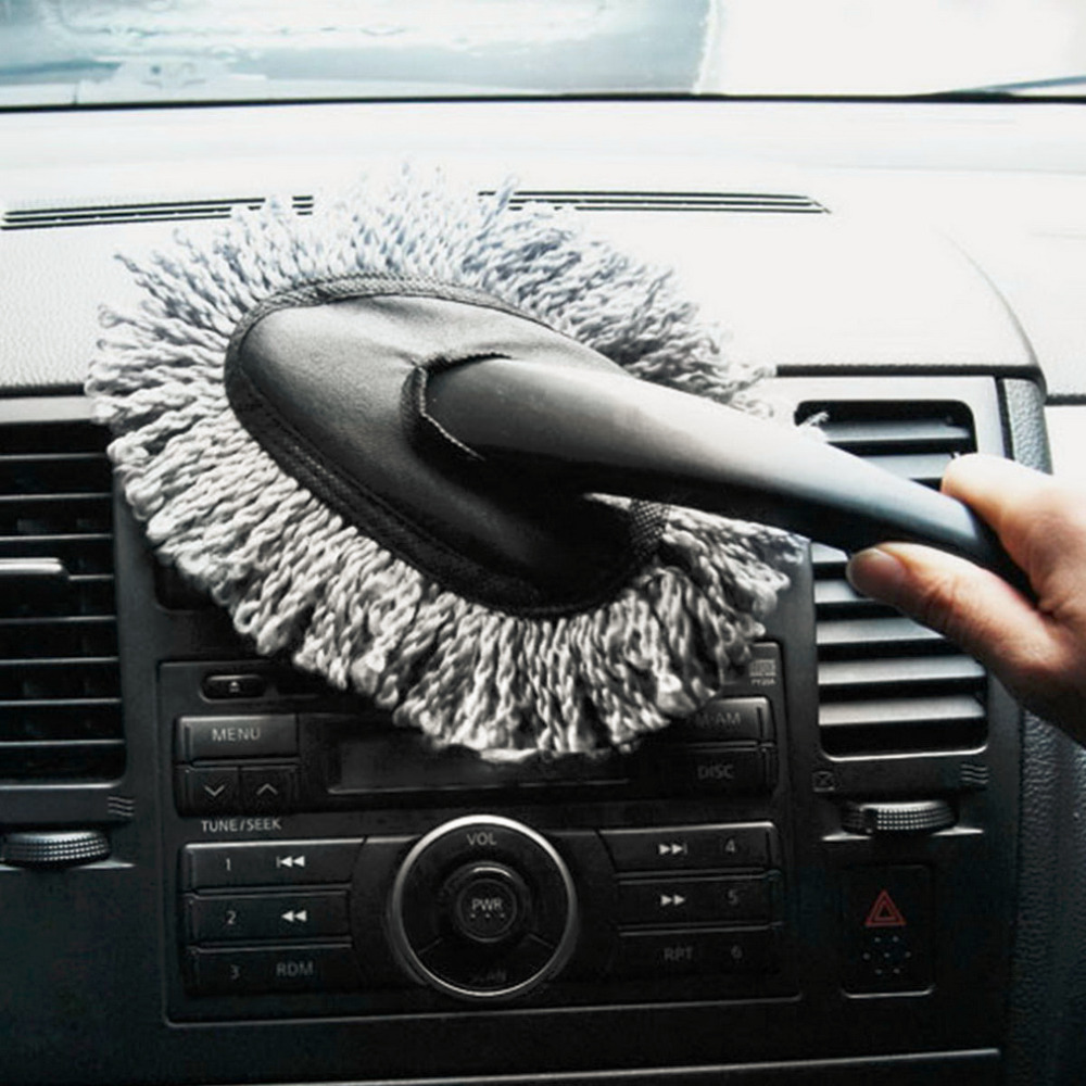 1PC Multi-functional Car Duster Cleaning Dirt Dust Clean Brush Dusting Tool Mop Gray Brush dark gray off shoulder jumpsuit with multi functional neck