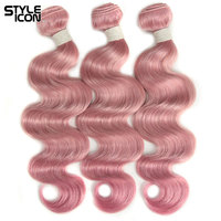 Styleicon Body Wave Hair Weaving 1 Piece Pink Purple Green Colorful Human Hair Wefts For Sew In 1B/Pink Malaysian Body Wave Hair