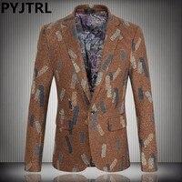 PYJTRL Brand Mens Plus Size 4XL 5XL Winter Business Casual Woolen Singer Suits Jacket Men Slim