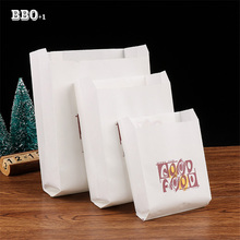100pcs/pack white Kraft Oil proof Paper bag good food French Fries Fried chicken Bread Burrito Paper Bags Takeout food bags