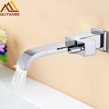 Quyanre Chrome Solid Brass Bath Basin Faucet torneira Bathroom Bathtub Faucet Waterfall Spout Vessel Vanity Taps Bathroom Faucet