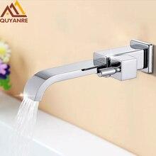 Quyanre grifo macizo de latón cromado para lavabo, grifo de baño, bañera, caño de cascada, grifos de tocador, grifo de baño