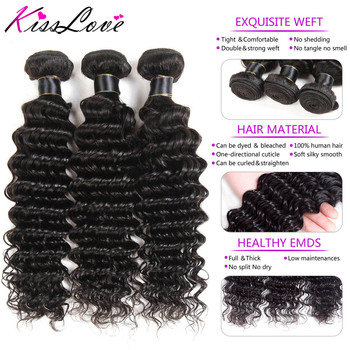 Kiss Love Brazilian Hair Deep Wave Bundles With Closure 100% Human Hair Weave Bundles With Closure 3 Bundles With Lace Closure  2