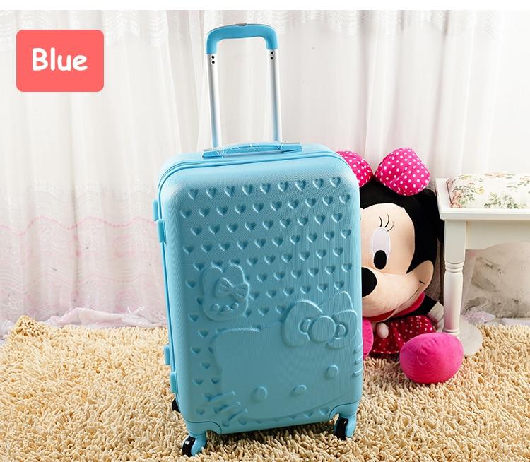 14 20 24 28 pouces abs bonjour kitty femelle voyage bagages ensembles, valise trolley rose, valise rigide femme vert sur roue