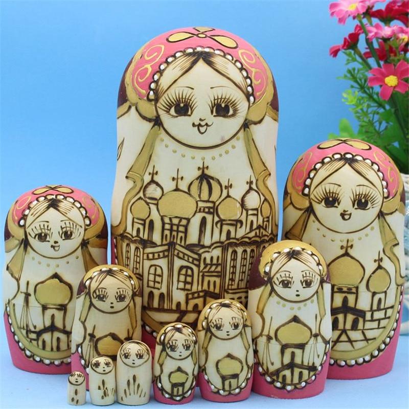 10 pièces sculpté poupée russe pagodes Style réel sec Basswood Matryoshka poupée 10 couches en bois à la main éducation jouets L30