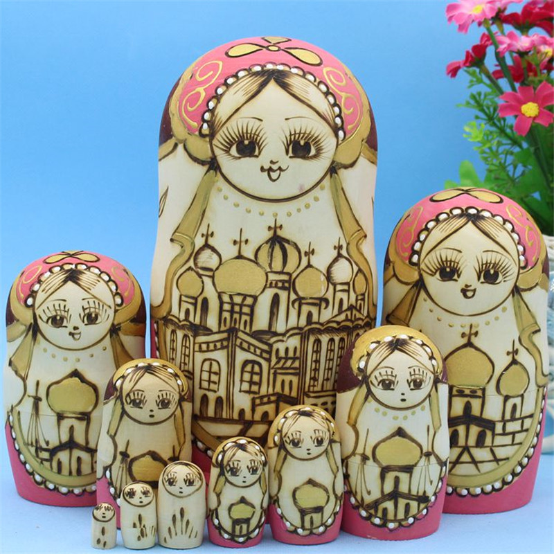 10pcs Carved Russian Doll  Pagodas Style Real Dry Basswood Matryoshka Doll 10 Layer Wooden Handmade Education Toys L30 одежда для сна gold three pagodas