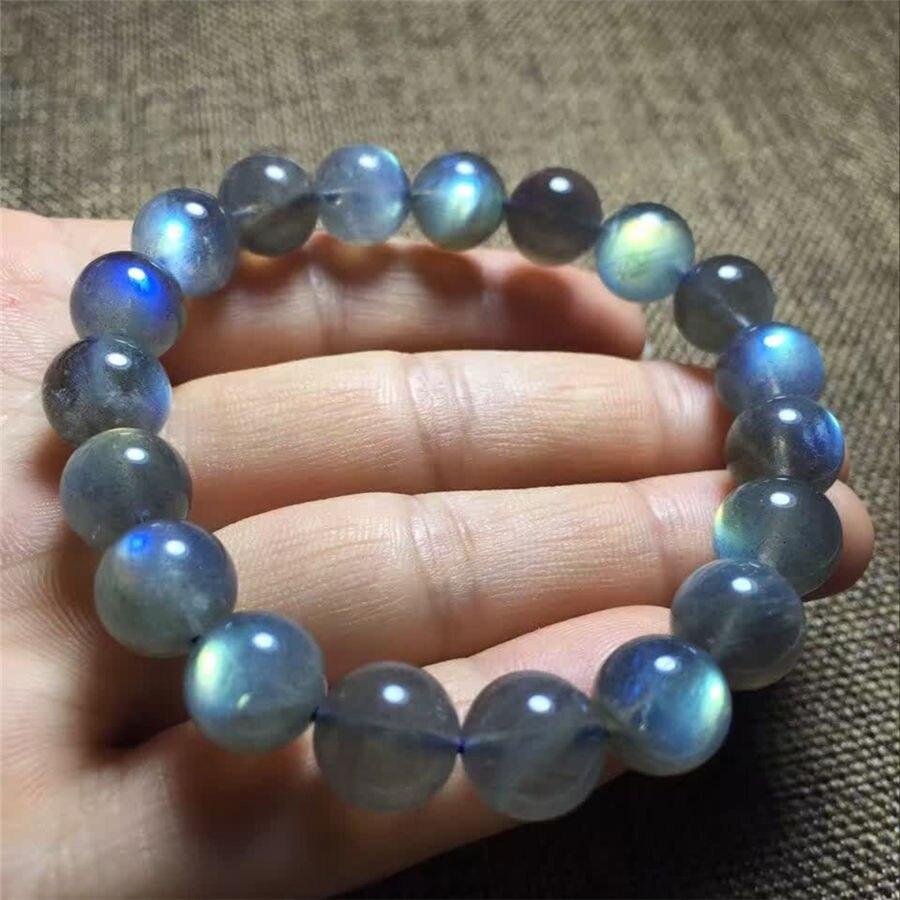 Bracelet en perles naturelles bleu Labradorite 9-10mm AAAA