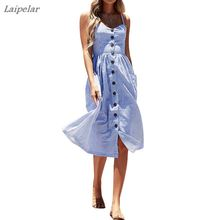 Womens Sexy Summer Backless Button Down Striped/Solid Print Swing Midi Dress With Pockets 2018 Laipelar