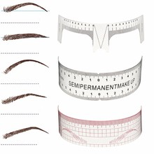 1pcs Permanent Makeup Eyebrow Grooming Stencils Plastic Ruler Tattoo Cosmetic Shaping Tool Beginers Practice Template Reusable