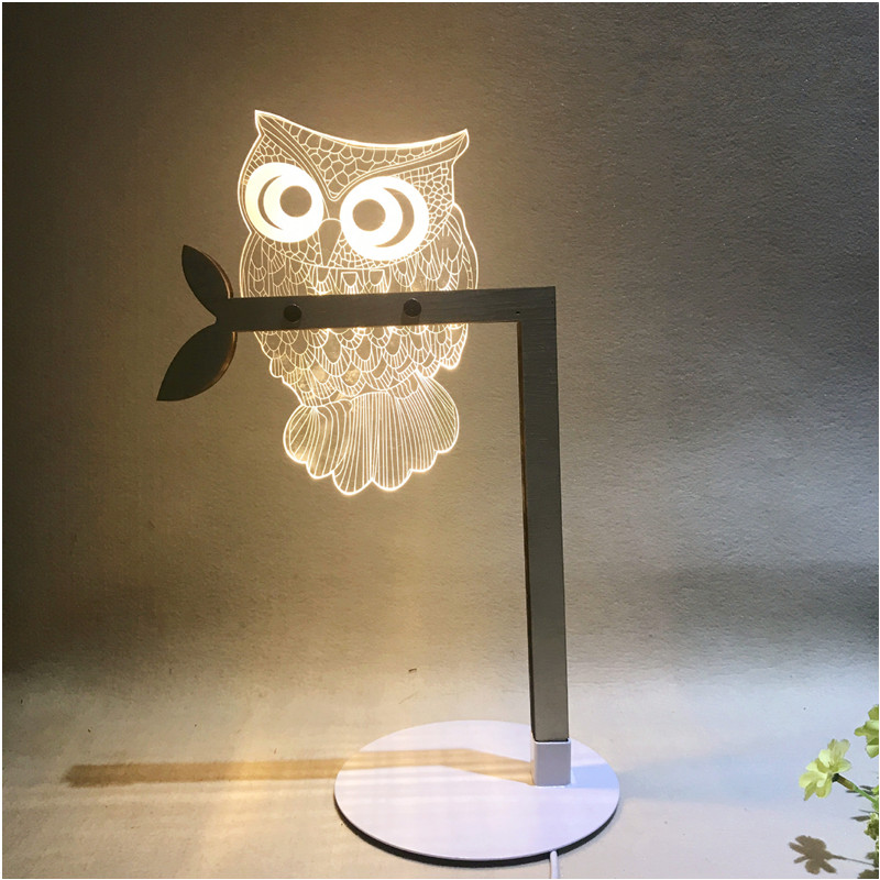 HZFCEW 3D Visual LED Owl Acrylic Night Light for Home Desk Decoration for Child Christmas Gift USB Table Lamp image