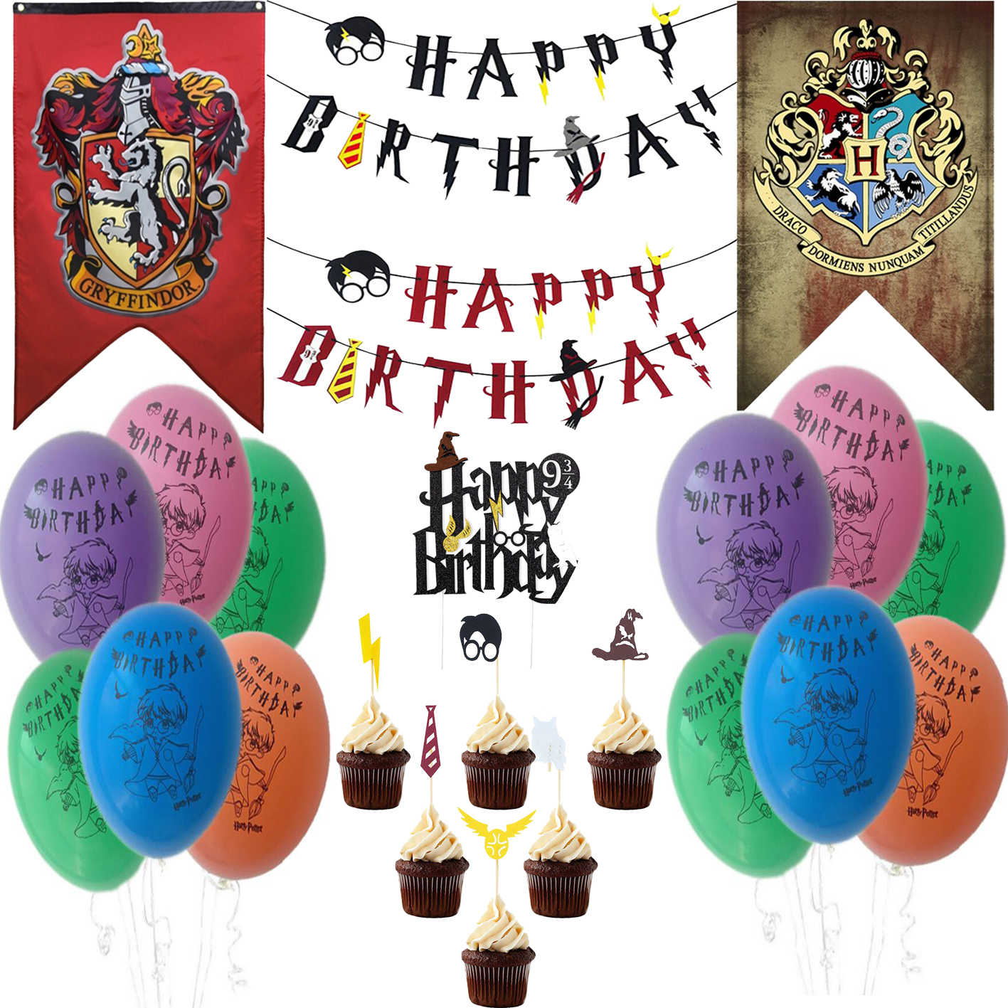 Harry Birthday Party Supplies College Flag Banners Decoration for Boy and Girl Theme Ideas Tableware Harri Wizard Deco