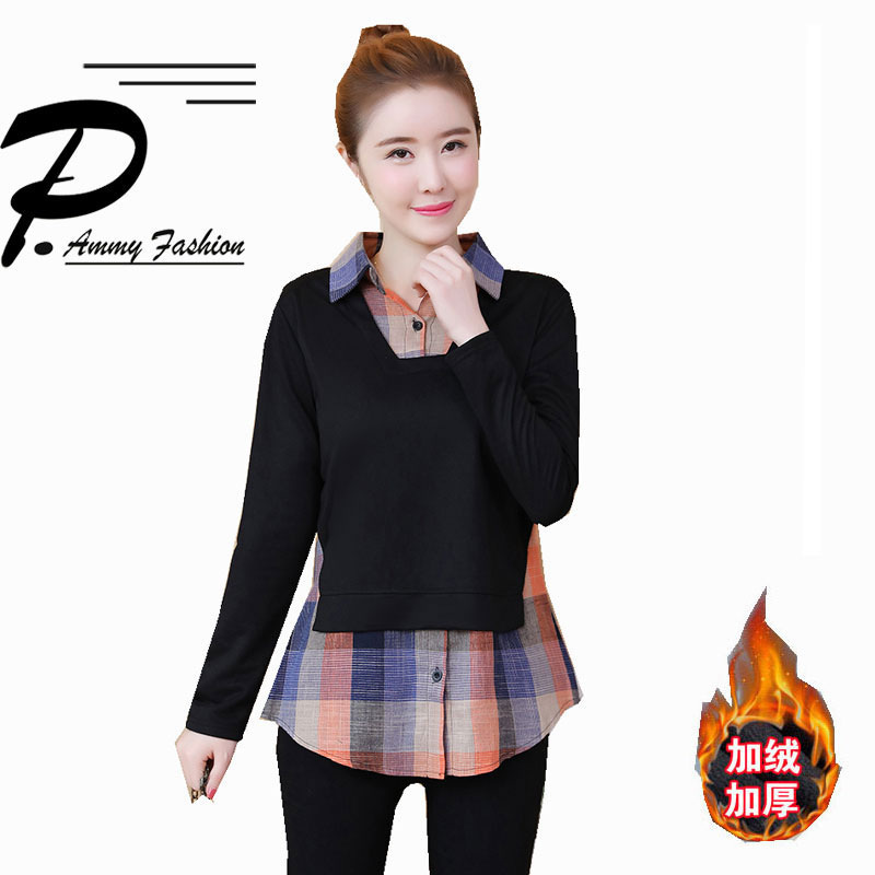 Turn-down Collar Plaid Patchwork T-Shirt Lady Fake two Tops M~5XL Casual Long Sleeve Checkered Pullover Tees