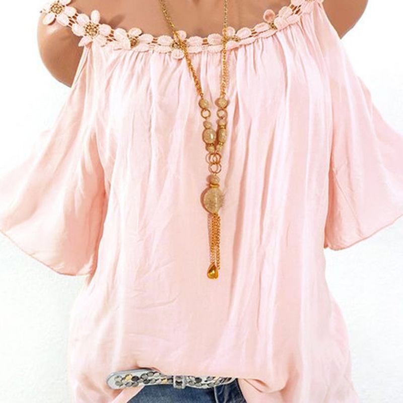 Women 39 s blouse 2019 summer lace round neck solid color shirt women in Blouses amp Shirts from Women 39 s Clothing