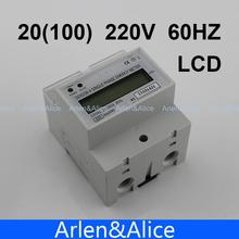 20(100)A 220V 60HZ Single phase Din rail KWH Watt hour din-rail energy meter LCD